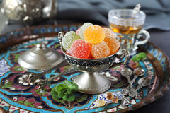 Green Tea and jelly sweets Stock Images