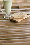 Green Tea Latte and Biscuits Royalty Free Stock Photography