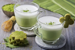 Green tea latte and cookies Stock Photo