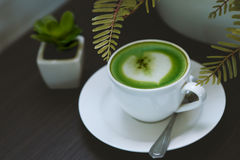 Green Tea. Latte,  matcha Stock Photo
