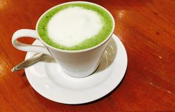 Green tea. Latte on table Royalty Free Stock Images