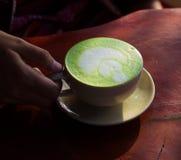Green tea latte on wood Royalty Free Stock Image