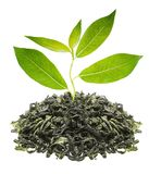 Green tea with leaf Stock Photo