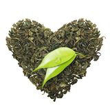 Green tea with leaf Royalty Free Stock Image