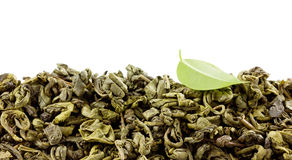 Green tea with leaf isolated Stock Photo