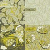 Green tea leaves, seamless background. Design element,  set pattern green leaves Stock Photos