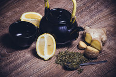 Green tea with lemon and ginger Royalty Free Stock Image