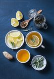 Green tea with lemon, ginger, sage on a blue background, top view. Healthy detox drink. Flat lay stock images