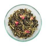 Green tea with lemon grass and rose petals. Stock Photography