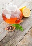 Green tea with lemon and mint Stock Photos
