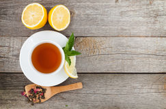 Green tea with lemon and mint Stock Photo