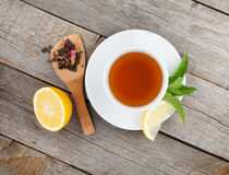 Green tea with lemon and mint Stock Images