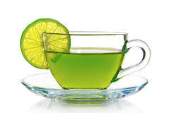 Green tea with lemon on a white background Royalty Free Stock Photography