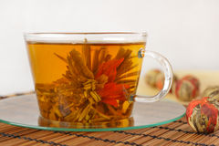 Green tea with lily flower Royalty Free Stock Images