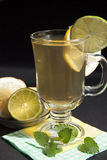 Green   tea with lime and mint Royalty Free Stock Image
