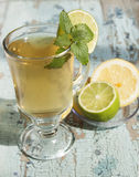Green   tea with lime and mint. Royalty Free Stock Photo