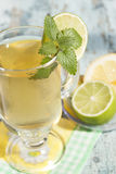 Green   tea with lime and mint. Stock Images