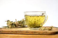Green tea with linden flowers Stock Photo
