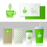Green tea logo and style. Mock up food and drink packages. Corporate identity template set with pattern of tea. Business card, paper cups and packs with vector illustration