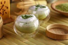 Green tea matcha latte. Glass cup of green tea matcha latte Royalty Free Stock Image