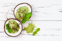 Green tea matcha mint ice cream with chocolate and coconut milk. Royalty Free Stock Images