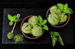 Green tea matcha mint ice cream with coconut milk. Green tea matcha mint ice cream with coconut milk Royalty Free Stock Photo