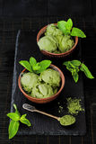 Green tea matcha mint ice cream with coconut milk. Stock Image