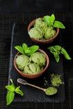 Green tea matcha mint ice cream with coconut milk. Green tea matcha mint ice cream with coconut milk stock image