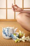Green tea and meditation Royalty Free Stock Photo