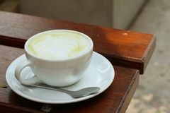 Green tea and milk at caffee shop. Stock Photos