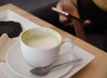 Green tea with milk Royalty Free Stock Images