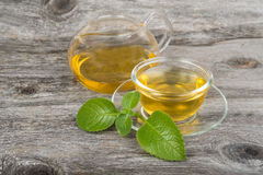 Green  tea with mint  on cup and pot Royalty Free Stock Photography