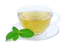 Green tea with mint. A cup of green tea with mint sprig on a white background stock photo