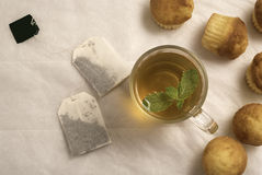 Green tea with mint  in a glass cup with vanilla muffins. Green tea with mint  in a glass cup with vanilla muffins Stock Photos