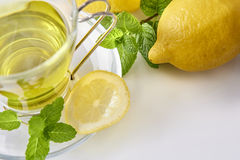 Green tea with mint and lemon top view Royalty Free Stock Photo