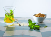 Green tea with mint Moroccan style Stock Photo