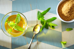 Green tea with mint Moroccan style Stock Photos