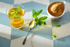 Green tea with mint Moroccan style Stock Images