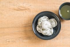 green tea mochi with red bean Royalty Free Stock Photo
