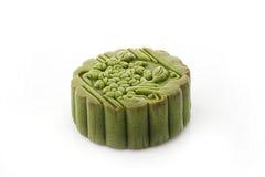 Green tea moon cake. Green tea flavors moon cake on white background Stock Photo