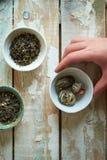 Green tea morning composition Stock Photos