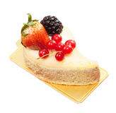 Green tea mouse cake with mixed berry fruits Royalty Free Stock Photo