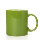 Green tea mug or cup. Isolated on white background cutout Royalty Free Stock Photo