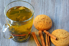 Green tea and oat cookie Royalty Free Stock Image