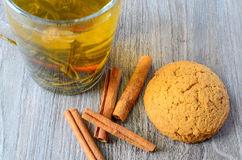 Green tea and oat cookie Royalty Free Stock Images