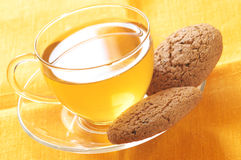 Green tea and oatmeal cookies Stock Photo