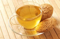 Green tea and oatmeal cookies Royalty Free Stock Photo