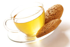 Green tea and oatmeal cookies Royalty Free Stock Image