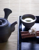 Green tea with original japanese tea pot Stock Photos