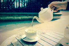 Green tea outdoors, tinted image Royalty Free Stock Images
